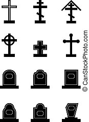 headstone - Set of black headstone silhouettes