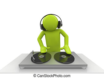 Acid DJ - 3d isolated characters on white background series