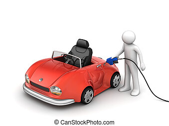 Fueling the car - 3d isolated micromachines on white...