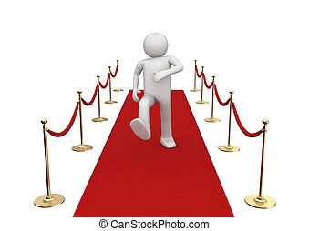 Red carpet walker - 3d isolated characters on white...