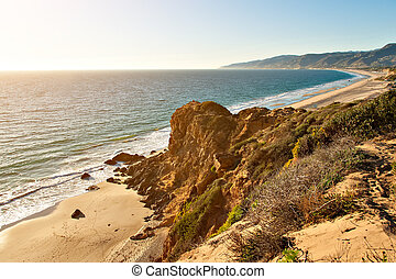 Rock formation by ocean on Point Dume Beach Malibu...