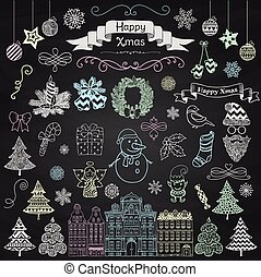 Hand Drawn Artistic Christmas Doodle Icons on Chalk Board Texture