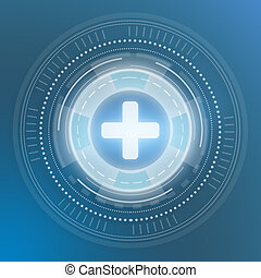Icon medical plus. Digital generation of circles on a blue background