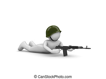 Aiming Soldier in Ambush - 3d isolated characters on white...