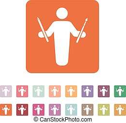 The painter avatar icon Artist and craftsman symbol Flat...