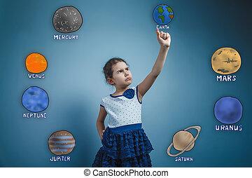 Adolescente, niña, asideros, dedo, Tumba, planeta,...