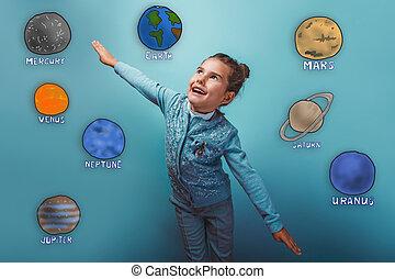 Adolescente, niña, simulates, vuelo, placer, planeta,...