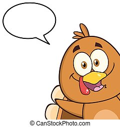 Cute Turkey Bird With Speech Bubble