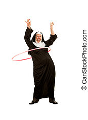 Funny Nun with Toy Plastic Hip - Funny Nun Playing with Toy...