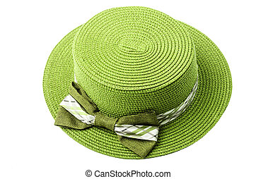 Straw green hat. - Straw green hat isolated on white...