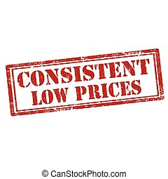 Consistent Low Prices - Grunge rubber stamp with text...
