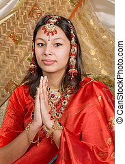 Bridal jewelry - Young Indian woman wearing saree and bridal...