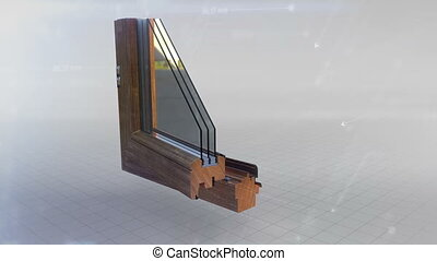 Window profile cut animation - Window profile cut wood oak,...
