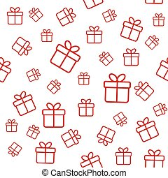Seamless white pattern with red gift boxes