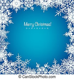 Blue frosty Christmas snowflakes background holiday design