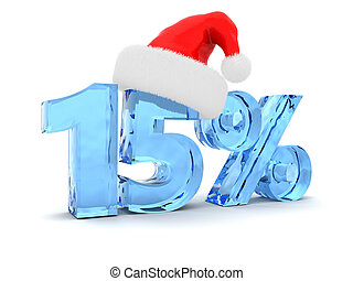 Christmas sale - 3d illustration of 15 percent discount and...