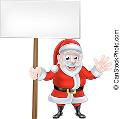 Waving Cartoon Santa Sign
