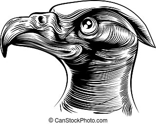 Woodblck Eagles Head