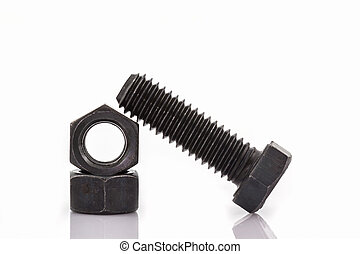Closeup metal screw, bolt and nuts - Closeup metal screw,...