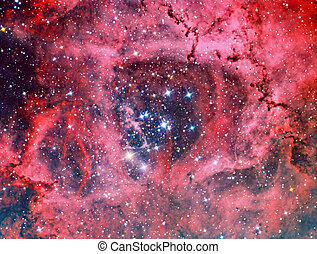 NGC 2244 Rosette Nebula imaged with a telescope and a...