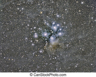 M45 Pleiades star cluster imaged with a telescope and a...