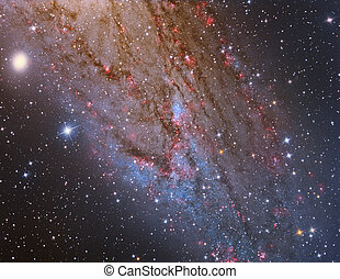 M31 Andromeda Galaxy Closeup imaged with a telescope and a...