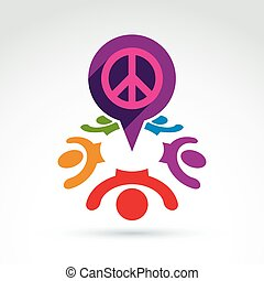 Society business and organization taking care about the peace, happy and joy emotions, vector conceptual stylish symbol for your design.