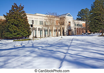 Library on a college campus in winter - McGraw-Page Library...