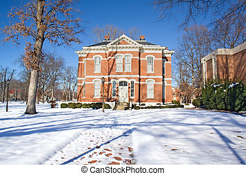 Academic building on a college campus in winter