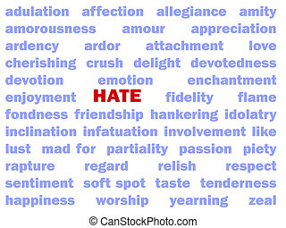 Hate - The red word Hate is surrounded by positive words...
