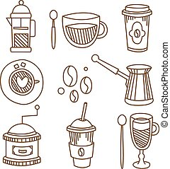 Coffee Elements Handdrawn Set. Vector Illustration. - Coffee...