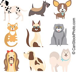 Collection of Cats and Dogs Different Breeds Vector...