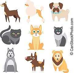 Collection of Cats and Dogs Different Breeds. Flat Vector Illustration