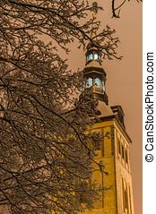 Niguliste church through snowbound tree branches by night,...