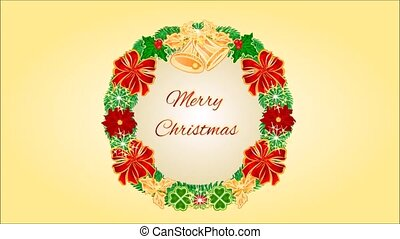 Merry Christmas four Advent wreaths - Animation of...