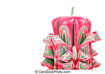 Carved candle isolated on white background - Carved pink...