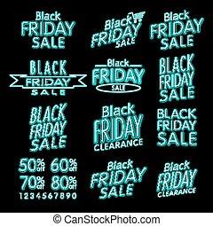 Black Friday Designs NEON | Retro Style Elements | Vintage Ornaments | Sale, Clearance | Vector Set | Black Friday retro light frame.