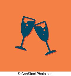 Vector stemware icon - Vector blue stemware icon on orange...