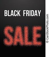 Black Friday Sale Vector Poster with Blackwork Halftone Effect.