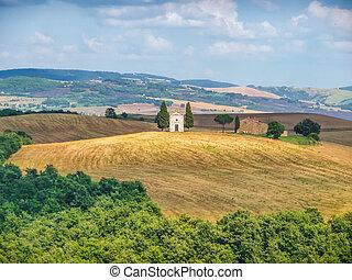 Toscana, paisaje, con, famoso, Cappella, della, Madonna, Di,...