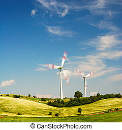 Meadow with wind turbine