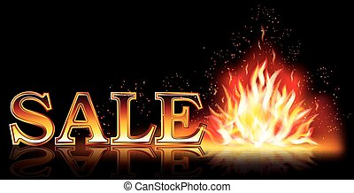 Hot sale flame banner, vector illustration