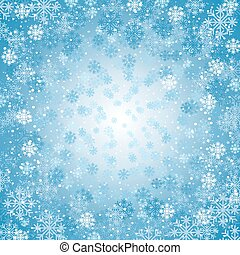 Winter background with blizzard of snowflakes Design element...