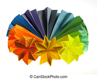 Colorful origami units - Colorful origami flower units...