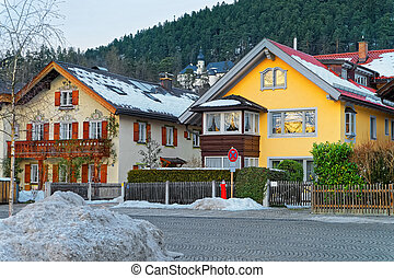 View of the typical alpine houses in Garmisch-Partenkirchen...