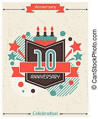 Anniversary abstract background with ribbon and decorative...