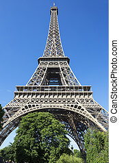 Eiffel Tower in blue sky
