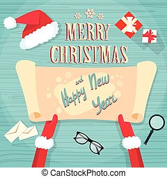 Santa Claus Hands Scroll Old Paper Merry Christmas Wish List...
