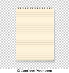 Photorealistic Vector Yellow Notepad Isolated on Transparent...