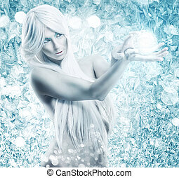 Ice Queen - Ice queen - the background frosty, icy, frozen